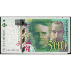 F 76-02 - 1995 - 500 francs - Pierre et Marie Curie - Etat : TB-