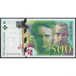F 76-02 - 1995 - 500 francs - Pierre et Marie Curie - Série Q - Etat : SUP
