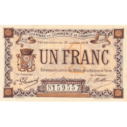 Granville - Pirot 60-4a - 1 franc - 1915 - Etat : SUP+