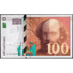 F 74f5-02 - 1998 - 100 francs - Cézanne - Série Q - Couleur manquant partiellement - Etat : TTB+