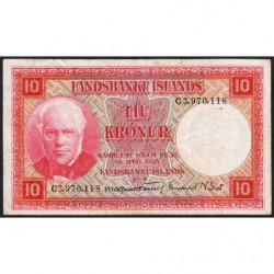 Islande - Pick 33b_3 - 10 kronur - Série C - Loi 1928 (1953) - Etat : TB