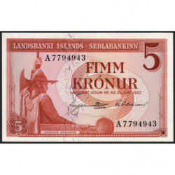 Islande - Pick 37b - 5 kronur - Série A - Loi 1957 (1960) - Etat : NEUF