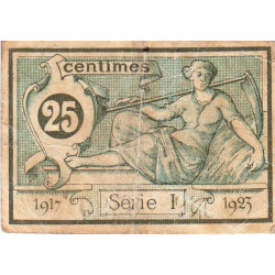 Aurillac (Cantal) - Pirot 16-11 - 25 centimes - Série I - 1917 - Etat : TB