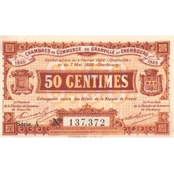 Granville / Cherbourg - Pirot 61-1 - 50 centimes - Série A - 06/02/1920 - Etat : SUP