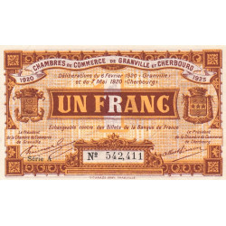 Granville / Cherbourg - Pirot 61-03-A - 1 franc - 1920 - Etat : SUP+
