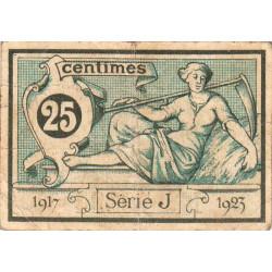 Aurillac (Cantal) - Pirot 16-11b-J - 25 centimes - 1917 - Etat : TB