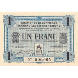 Granville / Cherbourg - Pirot 61-8 - 1 franc - Petit numéro - 1921 - Etat : SUP+