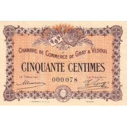 Gray / Vesoul - Pirot 62-1 - 50 centimes - Petit numéro - 1915 - Etat : SPL