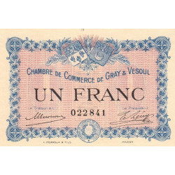 Gray / Vesoul - Pirot 62-3 - 1 franc - 1915 - Etat : SPL