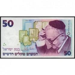 Israël - Pick 55b - 50 nouveaux sheqalim - 1988 - Etat : SPL