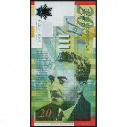 Israël - Pick 64 - 20 nouveaux sheqalim - Polymère - 2008 - Etat : NEUF