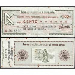 Italie - Miniassegni - Banca Agricola Commerciale di Reggio Emilia - 100 lire - 01/09/1976 - Etat : TB+