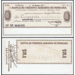Italie - Miniassegni - La Banca di Credito Agrario du Ferrara - 50 lire - 20/05/1977 - Etat : SPL