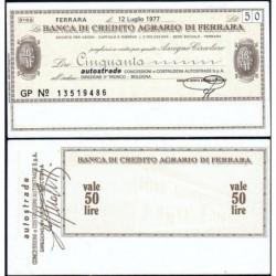 Italie - Miniassegni - La Banca di Credito Agrario du Ferrara - 50 lire - 12/07/1977 - Etat : SPL
