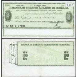 Italie - Miniassegni - La Banca di Credito Agrario du Ferrara - 100 lire - 03/05/1977 - Etat : TTB