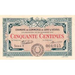 Gray / Vesoul - Pirot 62-11 - 50 centimes - Série 7 - 1919 - Etat : SUP+