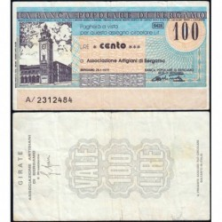 Italie - Miniassegni - Banca Popolare di Bergamo - 100 lire - 26/01/1977 - Etat : TB+