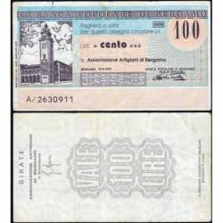 Italie - Miniassegni - Banca Popolare di Bergamo - 100 lire - 16/06/1977 - Etat : TB+
