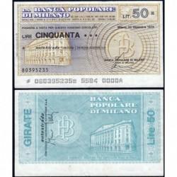 Italie - Miniassegni - La Banca Popolare di Milano - 50 lire - 20/12/1976 - Etat : TTB+
