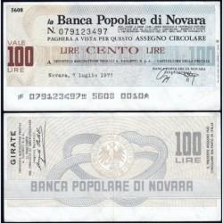 Italie - Miniassegni - La Banca Popolare di Novara - 100 lire - 07/07/1977 - Etat : TTB+