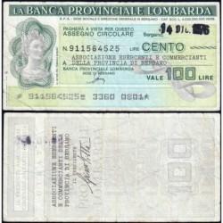 Italie - Miniassegni - Banca Provinciale Lombarda - 100 lire - 14/12/1976 - Etat : TB