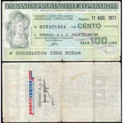 Italie - Miniassegni - Banca Provinciale Lombarda - 100 lire - 11/08/1977 - Etat : TB-