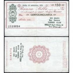 Italie - Miniassegni - Banca Sella - 150 lire - 23/09/1976 - Etat : TTB