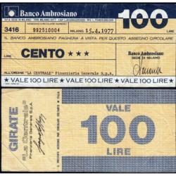 Italie - Miniassegni - Banco Ambrosiano - 100 lire - 15/04/1977 - Etat : TB