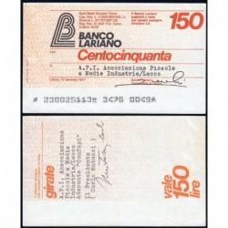 Italie - Miniassegni - Banco Lariano - 150 lire - 10/01/1977 - Etat : SUP