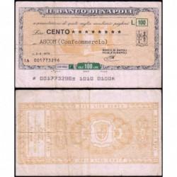 Italie - Miniassegni - Il Banco di Napoli - 100 lire - 02/02/1976 - Etat : TB