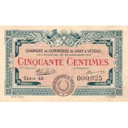 Gray / Vesoul - Pirot 62-11 - 50 centimes - Petit numéro - 1919 - Etat : TTB