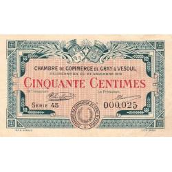 Gray / Vesoul - Pirot 62-11 - 50 centimes - Série 45 - 1919 - Petit numéro - Etat : TTB