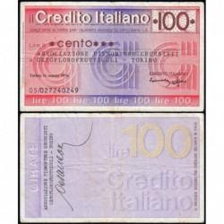 Italie - Miniassegni - Credito Italiano - 100 lire - 15/03/1976 - Etat : TTB-