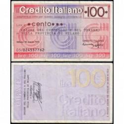 Italie - Miniassegni - Credito Italiano - 100 lire - 10/03/1976 - Etat : TB