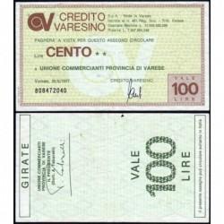 Italie - Miniassegni - Il Credito Varesino - 100 lire - 28/06/1977 - Etat : TB+