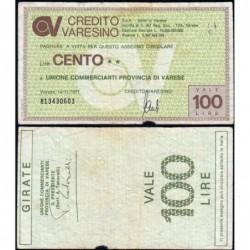 Italie - Miniassegni - Credito Varesino - 100 lire - 14/11/1977 - Etat : TB-