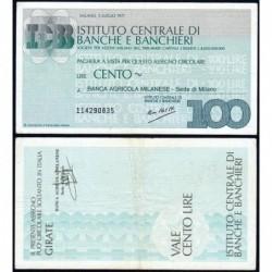 Italie - Miniassegni - Insituto Centrale di Banche e Banchieri - 100 lire - 05/07/1977 - Etat : TTB-