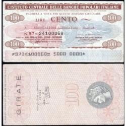 Italie - Miniassegni - L'Istituto Centrale delle Banche Popolari Italiane - 100 lire - 17/01/1977 - Etat : TTB-