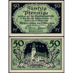 Allemagne - Notgeld - Aschersleben - 50 pfennig - Lettres ers - 05/03/1920 - Etat : NEUF