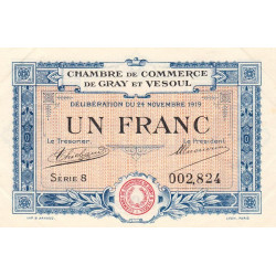 Gray / Vesoul - Pirot 62-13 - 1 franc - 1919 - Etat : SUP
