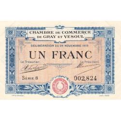 Gray / Vesoul - Pirot 62-13 - 1 franc - Série 8 - 1919 - Etat : SUP