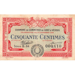 Gray / Vesoul - Pirot 62-15 - 50 centimes - 1920 - Etat : TB