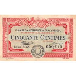 Gray / Vesoul - Pirot 62-15 - 50 centimes - Série B.54 - 1920 - Etat : TB
