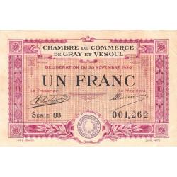 Gray / Vesoul - Pirot 62-17 - 1 franc - 1920 - Etat : TTB