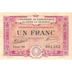 Gray / Vesoul - Pirot 62-17 - 1 franc - Série 83 - 1920 - Etat : TTB