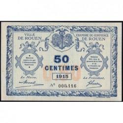 Rouen - Pirot 110-7 - 50 centimes - Petit numéro 000,116 - 1915 - Etat : NEUF