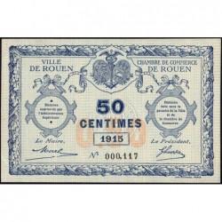 Rouen - Pirot 110-7 - 50 centimes - Petit numéro 000,117 - 1915 - Etat : SPL