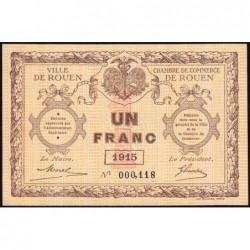 Rouen - Pirot 110-10 - 1 franc - Petit numéro 000,118 - 1915 - Etat : SPL+