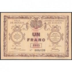 Rouen - Pirot 110-10 - 1 franc - Petit numéro 000,120 - 1915 - Etat : SPL