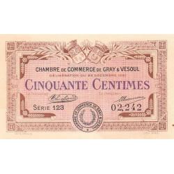 Gray / Vesoul - Pirot 62-19 - 50 centimes - Série 123 - 1921 - Etat : SUP+